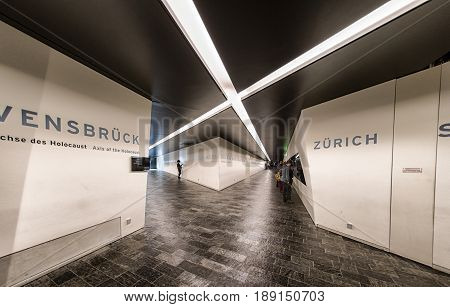 BeRLIN GERMANY - APRIL 9: Axis of the Holocaust in Jewish museum on April 9 2017 in Berlin