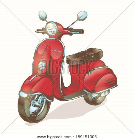 Vector color illustration red scooter, moped in vintage style. Print for T-shirts, template, design element