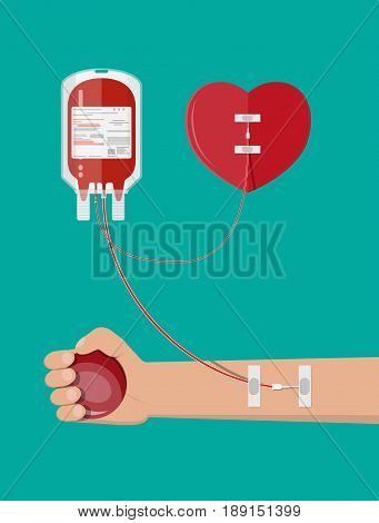 Blood bag, heart and hand of donor with ball. Blood donation day concept. Human donates blood. Vector illustration in flat style.