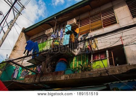 Local House On The Clothesline To Dry Linen Philippines Manila