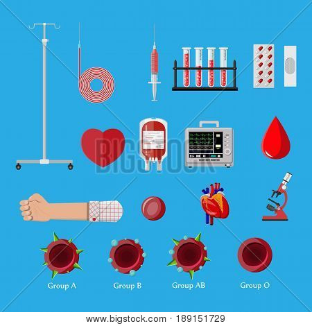 Blood donation day set. Human donates blood. Hand, microscope, blood bag, drop, syringe and heart. Vector illustration in flat style.