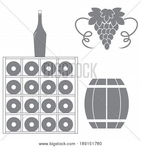 Stylized Icon Of A Colored Wine Rack, Bottles Of Wine, Bunch Of Grapes And Barrel Of Wine