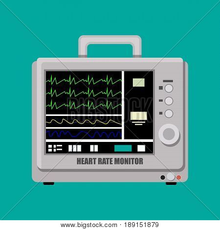 Patient heart rate monitor. Medical cardiac device. Vector illustration in flat style