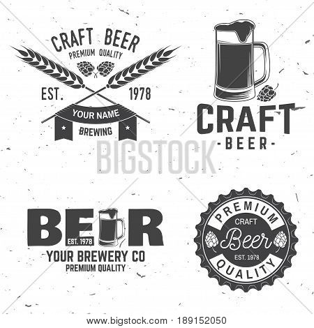 Set of Craft Beer badges with hops and bear. Vector illustration. Vintage design for bar, pub and restaurant business. Coaster for beer.