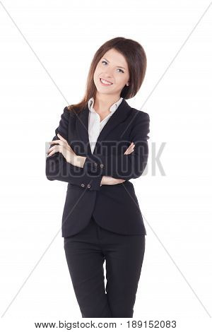 Half-length portrait of businesswoman with hands crossed, isolated on white.