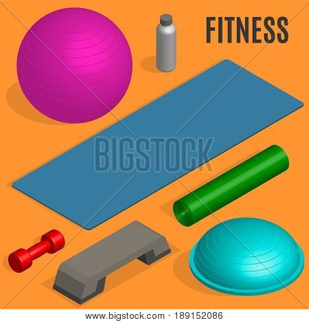 Set of sports equipment items. Elements design for gym and fitness room. Flat 3D isometric style vector illustration.