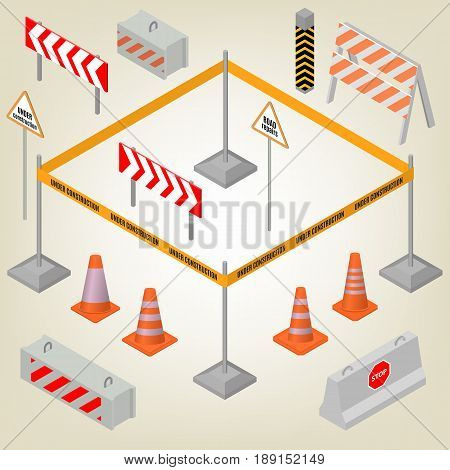 Set of road signs repairs isolated on white background. Design elements for reconstruction. Flat 3D isometric style vector illustration.