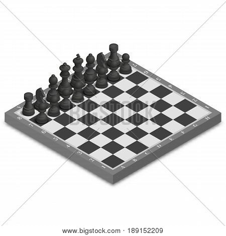 Chessboard with photo realistic black figures isolated on white background. 3D isometric style vector illustration.