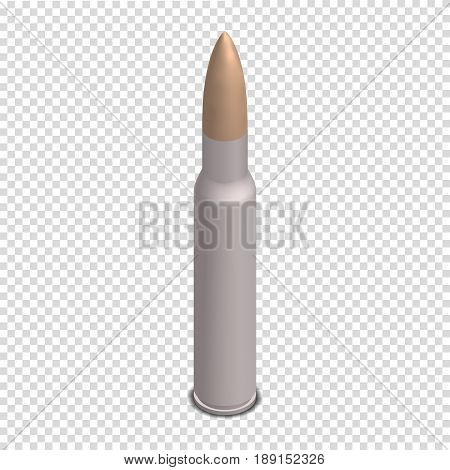 Photorealistic cartridge with a bullet isolated on white background. Design element firearms. 3D isometric style vector illustration.