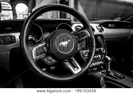 BERLIN - MAY 13 2017: Interior of the car Ford Mustang 5.0 V8 Convertible 2016. Black and white. Exhibition