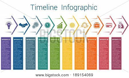 Set horizontal color arrows template infographic for ten position options steps or processes. Business creative concept data visualization.