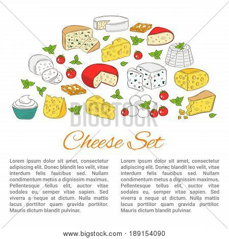 Vector banner template with different types of cheese, Mozzarella, Swiss Cheese, Gouda, Roquefort, Parmesan, Gorgonzola, Mascarpone, Brie, Ricotta Camembert hand drawn color sketch illustration