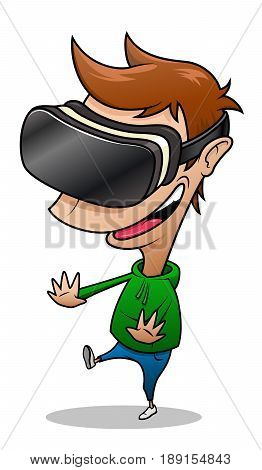 Boy wearing virtual reality glasses having fun playing vr game. Cartoon illustration isolated on white background.
