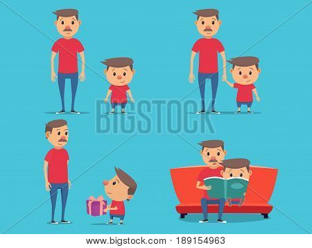 Father and son characters set. Son gives his father a gift. Father reads a book to his son. Vector illustration in flat style