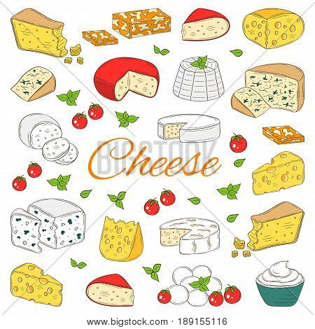 Vector color sketch illustration of different types of cheese, Mozzarella, Swiss Cheese, Gouda, Roquefort, Parmesan, Gorgonzola , Mascarpone, Brie, Ricotta Camembert isolated on white background