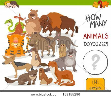 Cartoon Illustration of Educational Counting Activity Game for Kids with Cute Wild Animal Characters