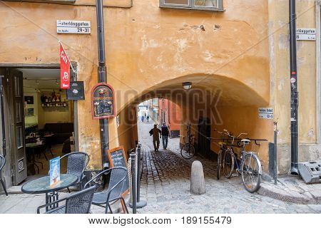 STOCKHOLM, SWEDEN - MAY 25: Medieval Old Town on May 19, 2017 in Stockholm. The historic Old Town is a major tourist attraction.