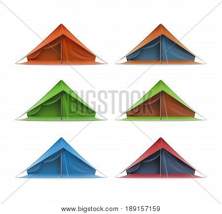 Vector set of green, red, blue tourist tents for travel and camping front view isolated on white background