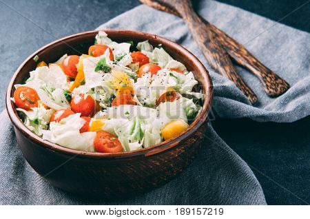 The Coleslaw And Tomatoes On The Table. The Dark Style