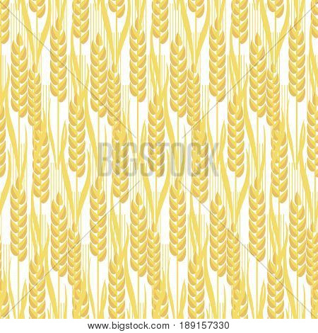 wheat golden grain seamless pattern vector illustration. graphic with decorative spike motif for surface design, wrapping paper, background, print