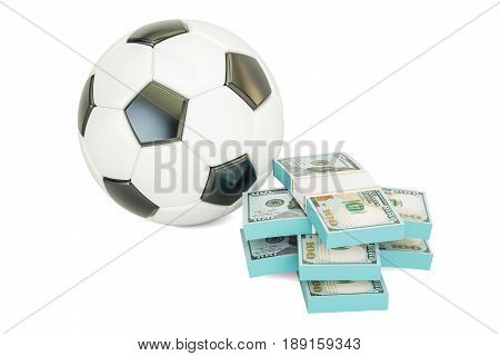 Online sport bets. Money and soccer ball 3D rendering