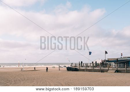 The Hague The Netherlands - August 7 2016: Beach bar a windy day in the beach of The Hague