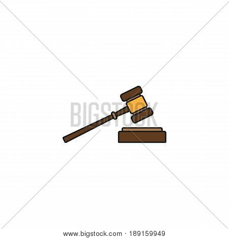 Judge gavel solid icon, auction hammer sign, vector graphics, a colorful linear pattern on a white background, eps 10.