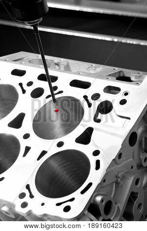 Repair motor block of cylinders operator inspection dimension aluminium automotive par in industrial factory poster