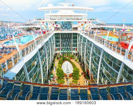 Barcelona, Spain - September 06, 2015: Royal Caribbean, Allure of the Seas sailing from Barcelona on September 6 2015. The second largest passenger ship constructed behind sister ship Oasis of the Seas. View of central park