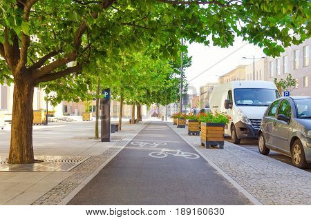 Picturesque bicycle lane under trees in downtown. Spring on the city street. Perfect cycling infrastructure in the city.