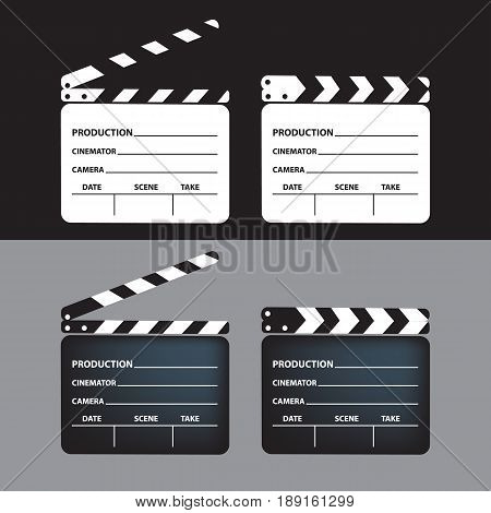 Vector - Set of movie clapperboard. Blank movie clapperboard. Vector Illustration