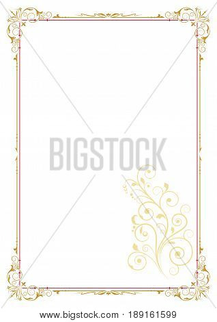 Color rectangular ornate frame and floral element, page decoration. A4 page proportions.