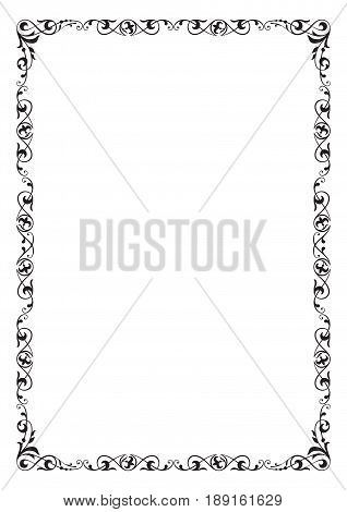 Black rectangular ornate frame, page decoration. A4 page proportions.