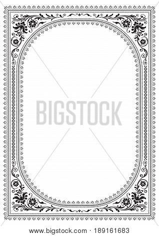 Ornate rectangular black framework with floral patterns. Slavic style.
