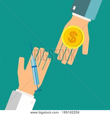 Buying syringe for money coin. Pharmacy store. Hands holding syringe and money coin. Vector illustration.