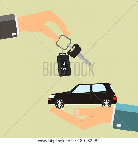 Car rental or sale concept. Hand holding car another hand holding money. Vector illustration.