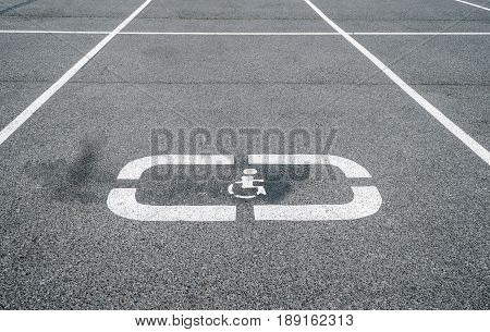 Parking For Cars, Places For The Disabled, Sign On The Asphalt.