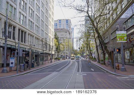 Street view in Portland with tram tracks - PORTLAND - OREGON