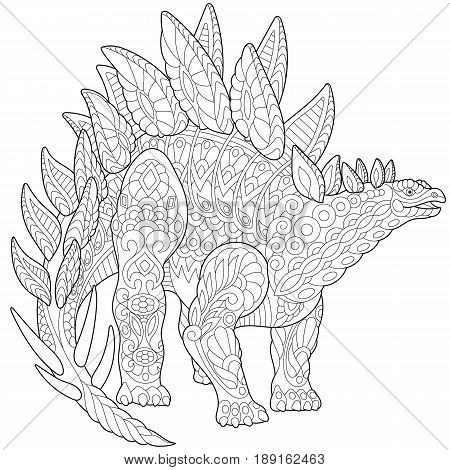 Stylized stegosaurus dinosaur of the Jurassic and early Cretaceous periods isolated on white background. Freehand sketch for adult anti stress coloring book page with doodle and zentangle elements.