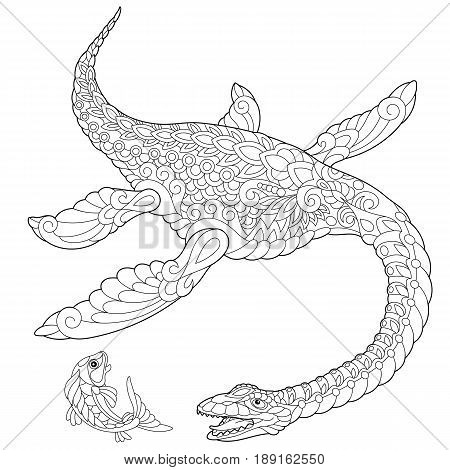Stylized plesiosaurus dinosaur of the Mesozoic era isolated on white background. Freehand sketch for adult anti stress coloring book page with doodle and zentangle elements.