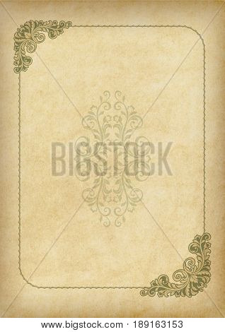 Template, background with a framework and decorative element on piece of parchment. A3 page proportions.