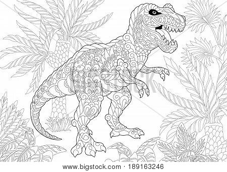 Stylized tyrannosaurus (t rex) dinosaur of the late Cretaceous period. Freehand sketch for adult anti stress coloring book page with doodle and zentangle elements.