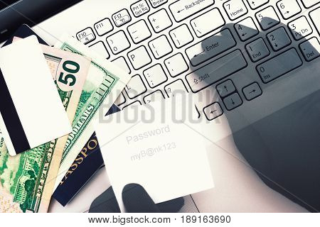 Cyber criminal. Unauthorized access to private data bank account money credit card. Hacker's hands entering stolen password to get access to computer. Security concept. Double exposure. Top view on keyboard