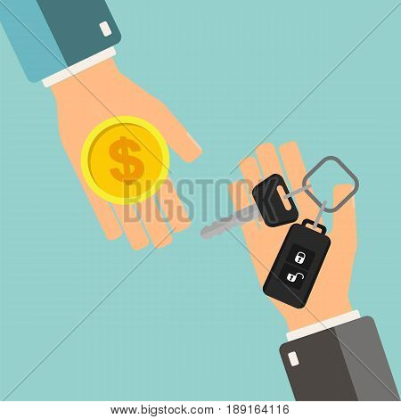 Car rental or sale concept. Hand holding car key another hand holding money. Vector illustration.