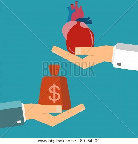 Concept of organ transplant. Buying heart. Hand holding human heart buyer holding money.