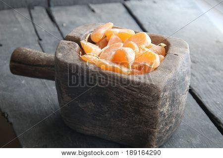 Mandarin citrus fruit slices, healthy food concept