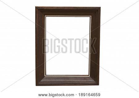 Old damaged wooden frame isolated on white background.