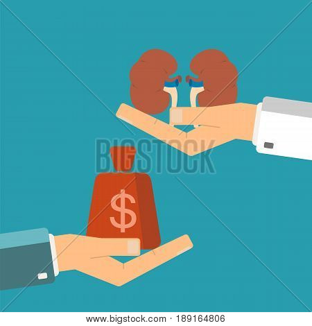 Concept of organ transplant. Buying kidneys. Hand holding human kidneys buyer holding money.