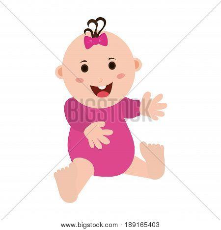 happy smiling female baby in onesie icon image vector illustration design