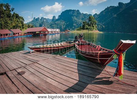Floating Houses And Long Tail Boats At Chieou Laan Lake